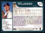 2001 Topps #672  Kevin Millwood  Back Thumbnail