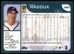 2001 Topps #660  Greg Maddux  Back Thumbnail