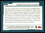 2001 Topps #757   Chicago Cubs Team Back Thumbnail