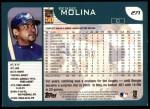 2001 Topps #271  Bengie Molina  Back Thumbnail