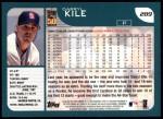 2001 Topps #289  Darryl Kile  Back Thumbnail