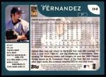 2001 Topps #114  Alex Fernandez  Back Thumbnail
