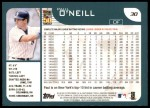 2001 Topps #30  Paul O'Neill  Back Thumbnail