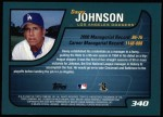 2001 Topps #340  Davey Johnson  Back Thumbnail