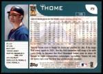 2001 Topps #15  Jim Thome  Back Thumbnail