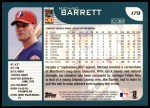 2001 Topps #179  Michael Barrett  Back Thumbnail