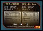 2001 Topps #739  Josh Axelson / Carmen Cali  Back Thumbnail