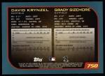 2001 Topps #750  Dave Krynzel / Grady Sizemore  Back Thumbnail
