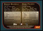 2001 Topps #357  Mark Folsom / Rocco Baldelli  Back Thumbnail