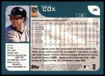 2001 Topps #36  Steve Cox  Back Thumbnail