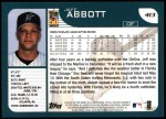 2001 Topps #413  Jeff Abbott  Back Thumbnail