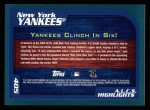 2001 Topps #405   New York Yankees Back Thumbnail