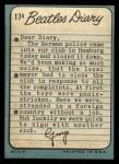 1964 Topps Beatles Diary #17 A George Harrison  Back Thumbnail