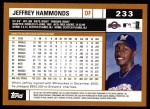 2002 Topps #233  Jeffrey Hammonds  Back Thumbnail
