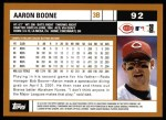 2002 Topps #92  Aaron Boone  Back Thumbnail