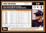 2002 Topps #20  Mike Mussina  Back Thumbnail
