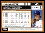 2002 Topps #43  Darren Dreifort  Back Thumbnail