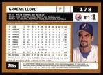 2002 Topps #178  Graeme Lloyd  Back Thumbnail