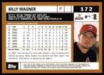 2002 Topps #172  Billy Wagner  Back Thumbnail