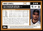 2002 Topps #249  Mike Lowell  Back Thumbnail