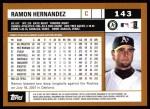 2002 Topps #143  Ramon Hernandez  Back Thumbnail