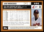 2002 Topps #406  Jose Mercedes  Back Thumbnail