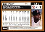 2002 Topps #157  Carl Everett  Back Thumbnail