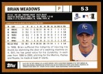 2002 Topps #53  Brian Meadows  Back Thumbnail