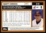 2002 Topps #33  Marty Cordova  Back Thumbnail