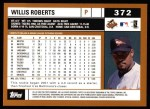 2002 Topps #372  Willis Roberts  Back Thumbnail