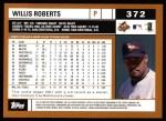 2002 Topps #372  Willis Roberts  Back Thumbnail