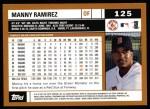2002 Topps #125  Manny Ramirez  Back Thumbnail