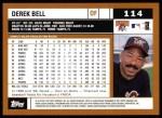 2002 Topps #114  Derek Bell  Back Thumbnail