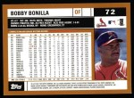 2002 Topps #72  Bobby Bonilla  Back Thumbnail