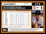 2002 Topps #375  John Burkett  Back Thumbnail