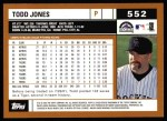2002 Topps #552  Todd Jones  Back Thumbnail
