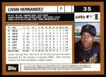 2002 Topps #35  Livan Hernandez  Back Thumbnail