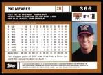 2002 Topps #366  Pat Meares  Back Thumbnail