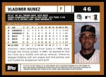 2002 Topps #46  Vladimir Nunez  Back Thumbnail
