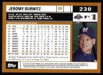 2002 Topps #230  Jeromy Burnitz  Back Thumbnail