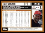 2002 Topps #216  Mike Jackson  Back Thumbnail
