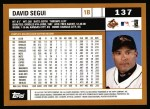 2002 Topps #137  David Segui  Back Thumbnail