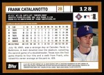 2002 Topps #128  Frank Catalanotto  Back Thumbnail
