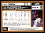 2002 Topps #129  Jose Cabrera  Back Thumbnail