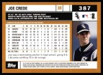 2002 Topps #387  Joe Crede  Back Thumbnail