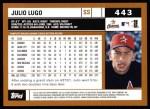 2002 Topps #443  Julio Lugo  Back Thumbnail