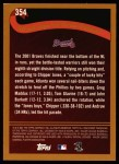 2002 Topps #354   Atlanta Braves - Playoff-Bound Back Thumbnail