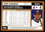 2002 Topps #204  Eddie Taubensee  Back Thumbnail