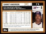 2002 Topps #71  Garret Anderson  Back Thumbnail