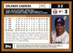 2002 Topps #32  Orlando Cabrera  Back Thumbnail